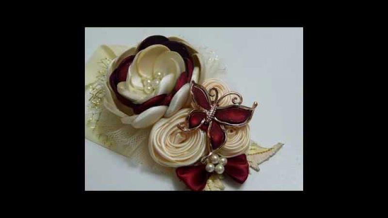 Tiara para Bautizo con Botón Técnica Quemado (otra Forma)Flores Grandes Tela Raso Diy 625
