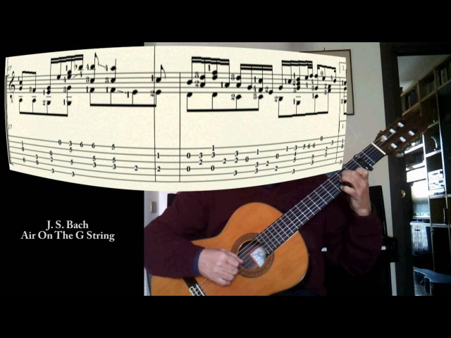 J. S. Bach Air On The G String (BWV 1068) one guitar with score and tab