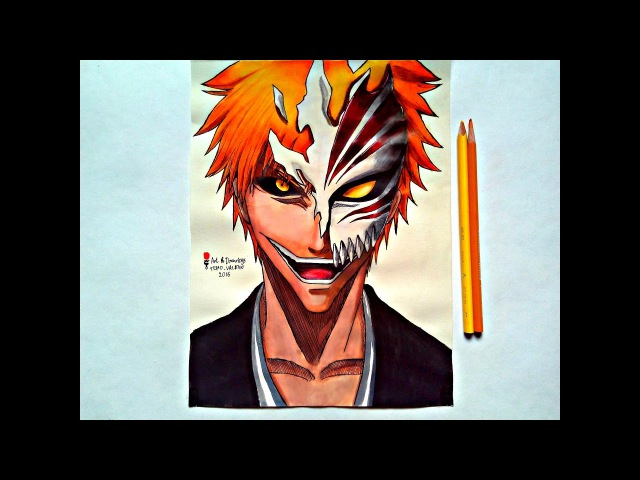 Speed Drawing Anime Bleach Ichigo Kurosaki / Рисую Аниме Блич / アニメブリーチ黒崎 一護ドローイング (Art Drawings)