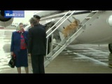 Queen encourages corgis up aircraft steps at Heathrow in 1994 Today News