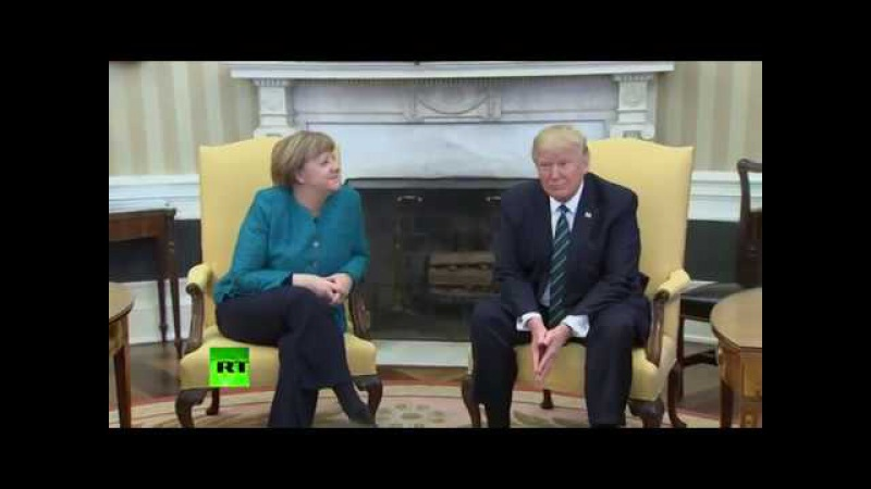Weird moment Trump ignores media prompts to shake hands with Merkel