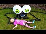 Ужасный ПАУК атакует Как снимаем ВИДЕО Играем на Детской площадке Видео для детей