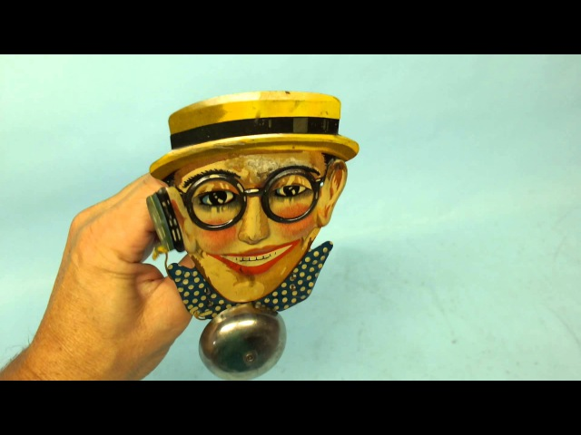 ANTIQUE1920's PAUL WEISS HAROLD LLOYD BELL RINGER GERMAN TIN LITHO MECHANICAL TOY