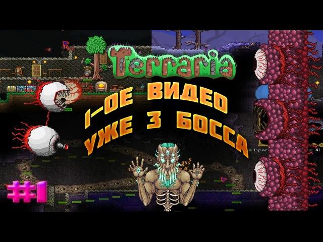 Terraria l часть 1 l 3 босса, вводное видео l Ктулху, червь, король слизней