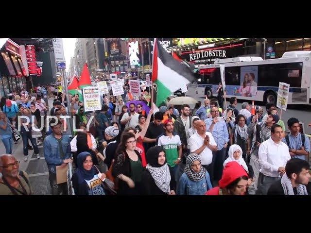 США: Празднование дня Аль-Кудса в Нью-Йорке, нарушенное про-Израильскими активистами.