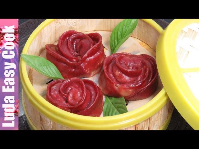 КИТАЙСКИЕ ПЕЛЬМЕНИ РОЗОЧКИ Цветные Пельмени на ПАРУ Вкусно и Красиво Rose Dumplings Chinese смотреть онлайн без регистрации
