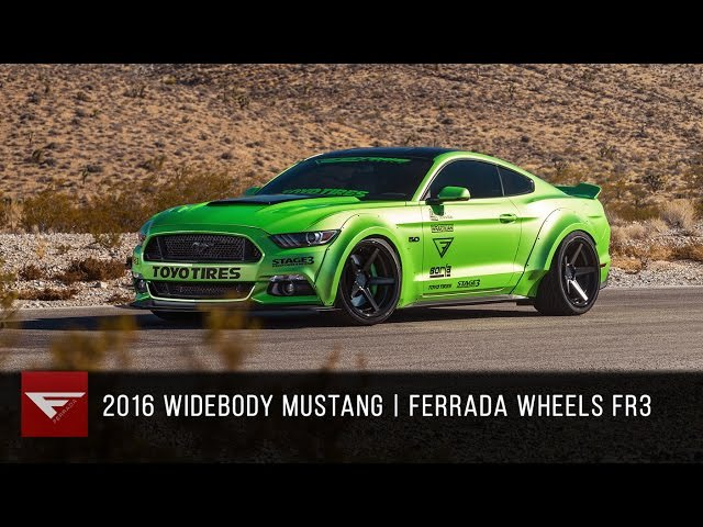 2016 Widebody Ford Mustang Ferrada FR3 in Matte Black with Gloss Black Lip