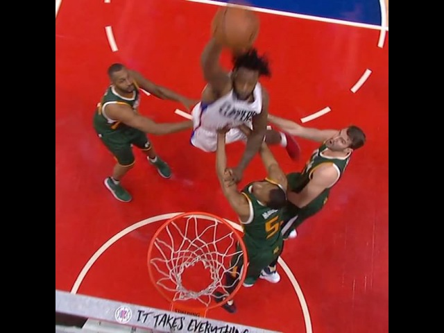 DeAndre Jordan is casually dunking over three people in Game 7. SCtop10