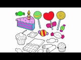 Coloring Pages for Kids Candy, cake with candle lollipop, cupcake with cherry and bonbon