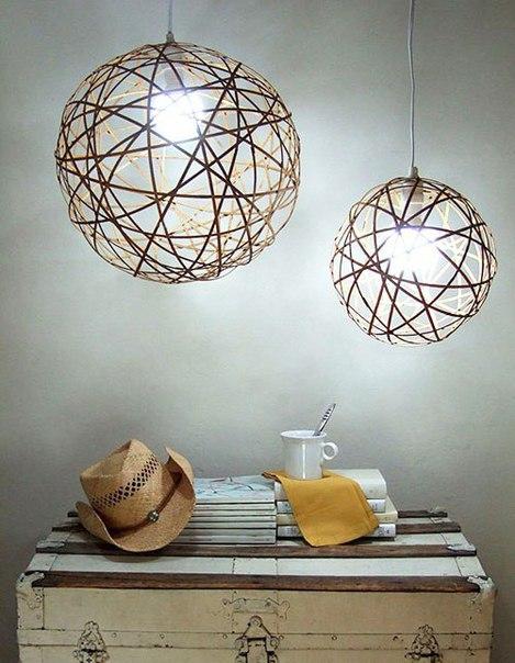 Плафон для люстры из бамбуковой салфетки