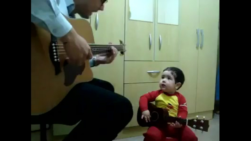 2 year old singing Dont Let Me Down with his dad I have some strong compet