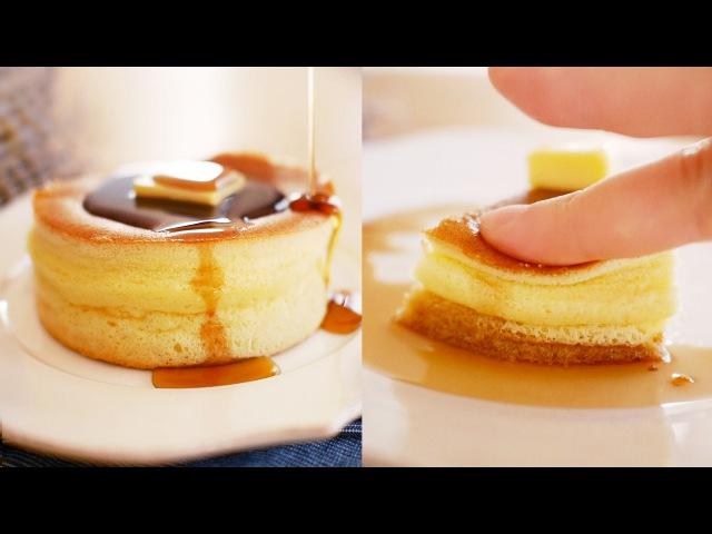 일본 열풍 도톰한 팬케이크 만들기! 노오븐! (퐁신퐁신 손으로 눌러봤어요33