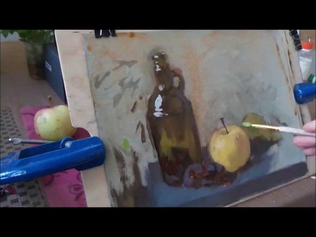 Натюрморт с бутылкой. Natura morta con bottiglia. pittura ad olio.