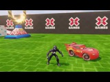 Spiderman with disney cars lighting McQueen for toddlers