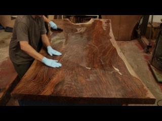 Finishing a STUNNING Claro Walnut Dining Table Top Live Edge Slab with a Hand Applied Oil Finish