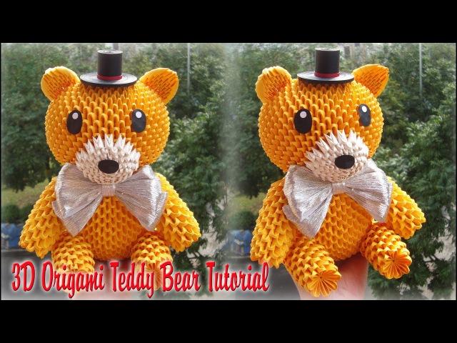 HOW TO MAKE 3D ORIGAMI TEDDY BEAR   DIY PAPER TEDDY BEAR TUTORIAL