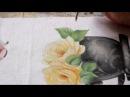 Pintura em tecido - Mini rosa amarela