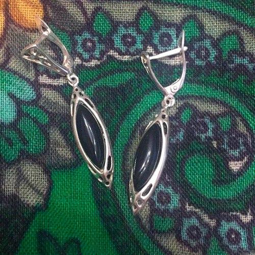 сережки с камнем гагат - черный янтарь