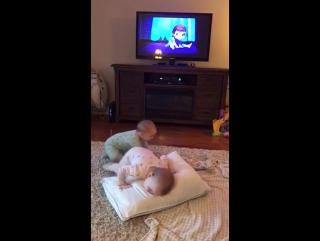 23 month old Twin sisters acting out their favorite scene from Disney's Frozen