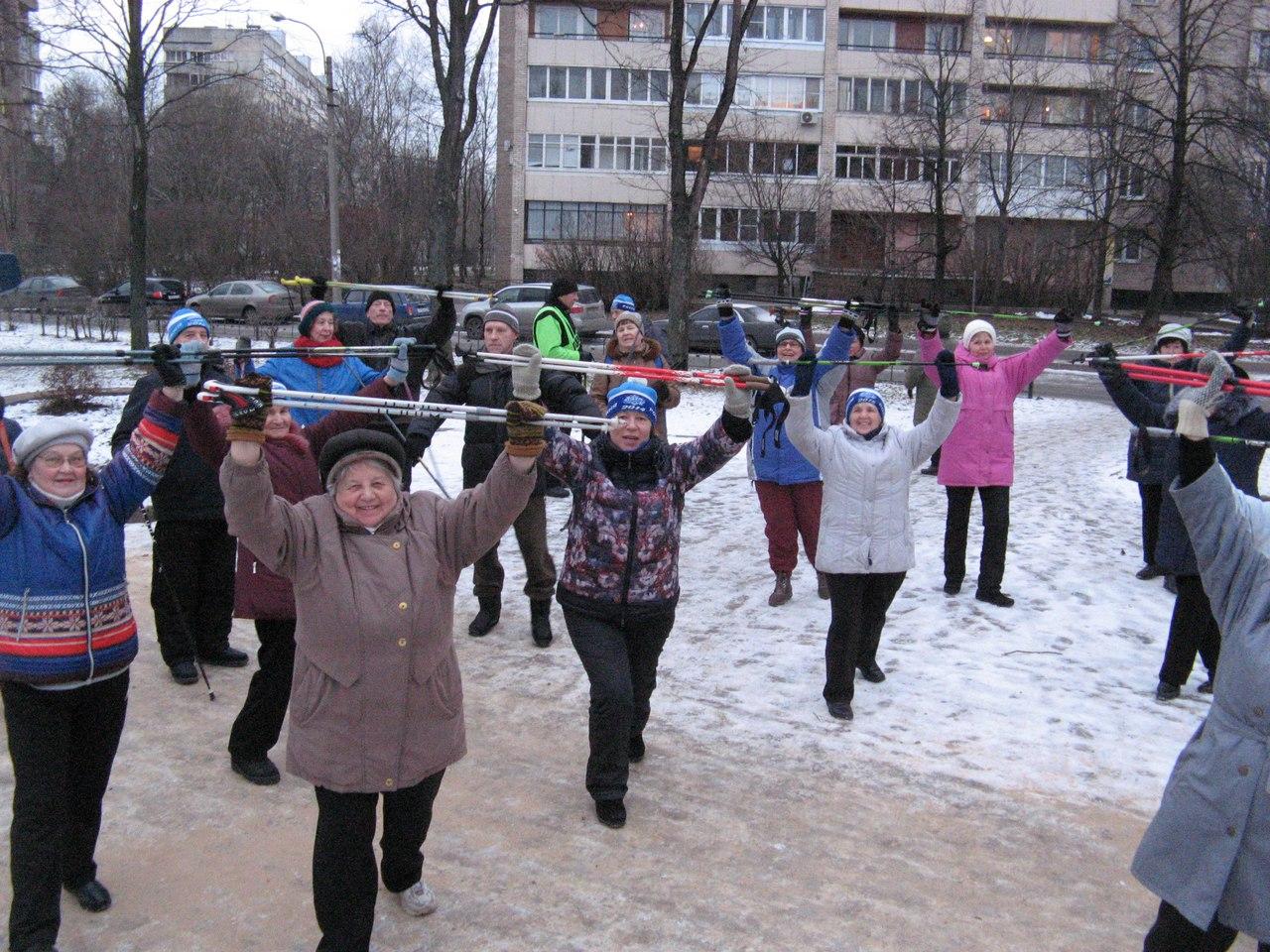 Зимние забавы. Группа Скандинавской ходьбы «Возрождение»
