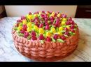 Торт Корзина Тюльпанов / CakeBasket Tulips / Праздничный Торт / Пошаговый Рецепт МК