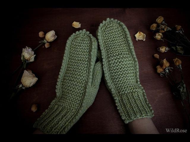 Варежки Крокодильчики ♥ Палец индийским клином ♥ Вяжем спицами ♥ Wild Rose ♥
