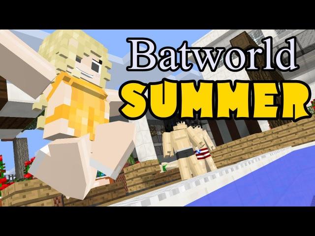BatWorld summer [ minecraft animation ] Squirt gun Fight 마인크래프트 애니메이션 수영장 총싸움