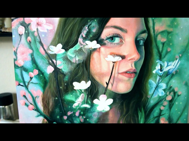 Oil Painting Time Lapse | Dreamy Blossom Portrait