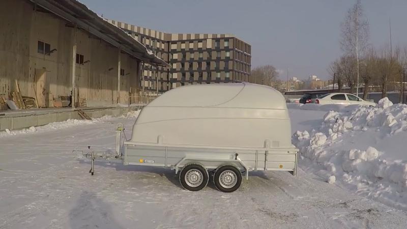 Прицеп для снегохода квадроцикла ЛАВ 81013А с крышкой борт 400мм