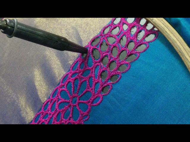 How to do cut work using soldering iron on a Kanchipuram saree