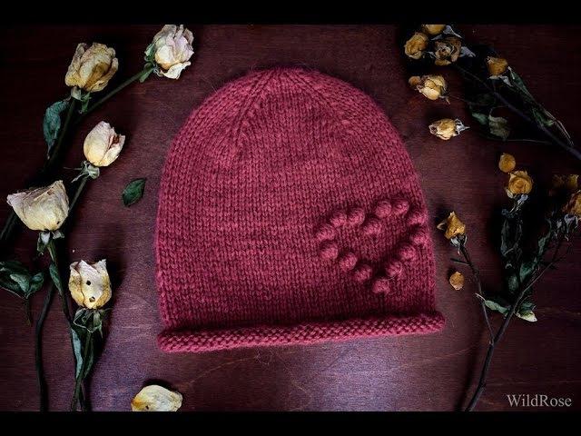 Вяжем шапку с сердечком ♥ Вяжем спицами ♥ Wild Rose ♥