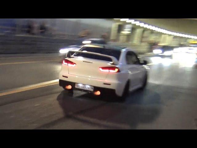 Mitsubishi Lancer EVO X - CRAZY CRACKLES POPS Spitting Flames!