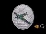 1 oz. Pure Silver Coloured Coin Aircraft of The Second World War Hawker Hurricane (2017)