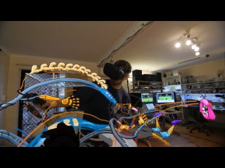 SUTU's The Nawlz vs VR Camera Robot: Tilt Brush Painting with Object Tracking Gimbal in HTC Vive`