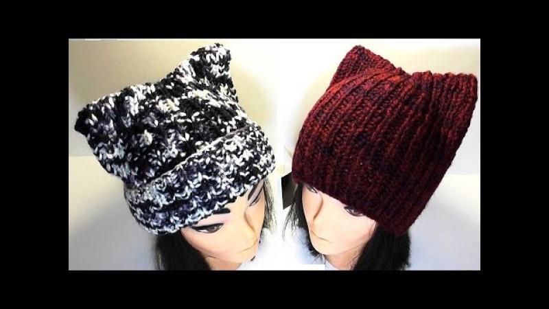 Видео вязание спицами шапочка с ушками
