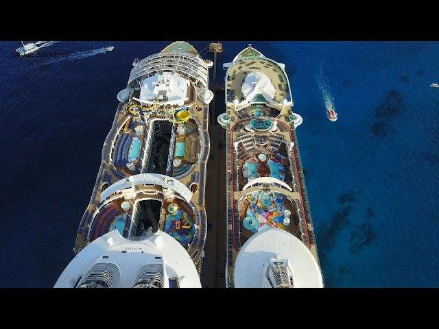 [4K] DJI Mavic Pro Harmony of the Seas Freedom of the Seas Side by Side Comparison in Cozumel
