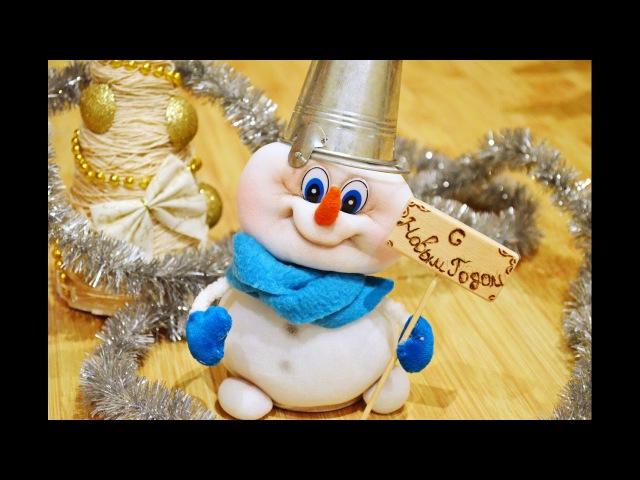 Снеговик своими руками из чулка ☃ How to make a snowman of tights