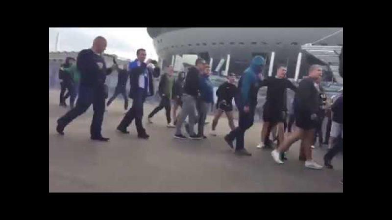 Russian hooligans Zenit Sankt Petersburg vs Spartak Moscow hooligans (07082017)