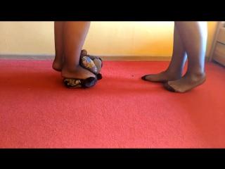 47. Trampling and ripping pantyhose