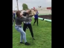 Crazy girl gets kicked in the face