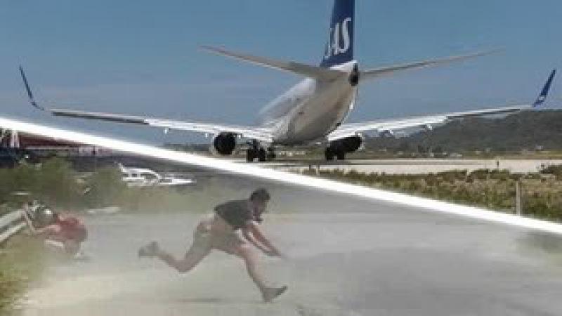 JET BLAST throws person on the ground! SAS 737 at the Second St Maarten! Skiathos 737 Takeoff!