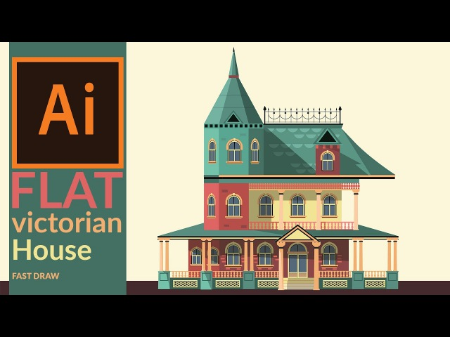 Drawing a Victorian era house in illustrator - Fast drawing