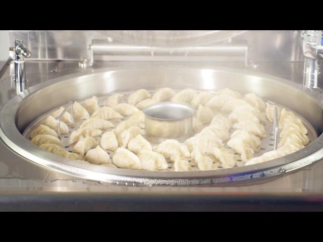 Манты и гедза в пищеварочном котле КПЭМ 160 9Т торговой марки Abat