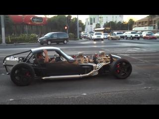 V16 2 V8s Hot rod smokin tire leaving sema show 09