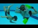 Дети в бассейне. Прыжки в воду. Как дети ныряют, плавают Kids swimming, diving in the pool Для де ...