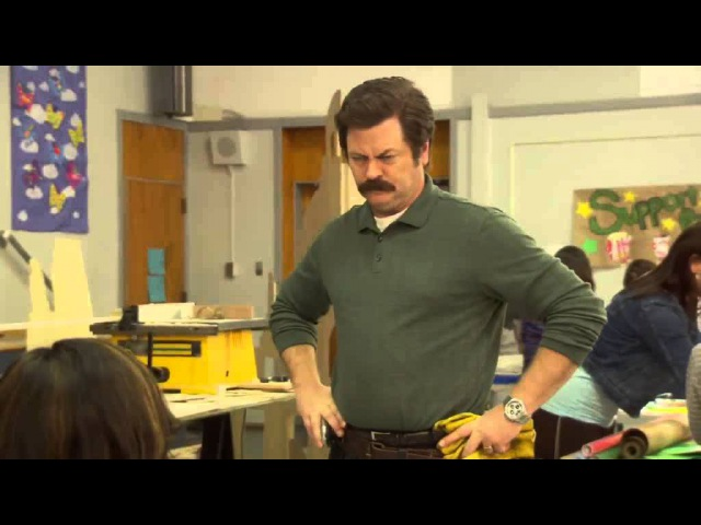 Parks and Recreation - Nick Offerman breaks character
