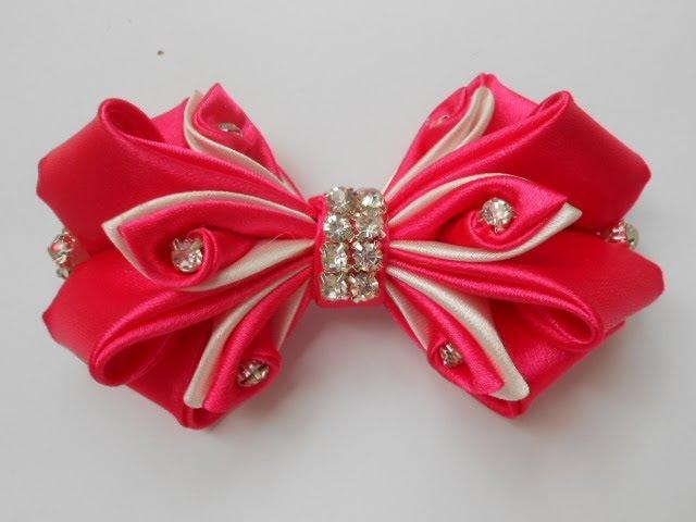 Бант из атласной ленты МК/ DIY Satin ribbon bow/Curva de fita de cetim54
