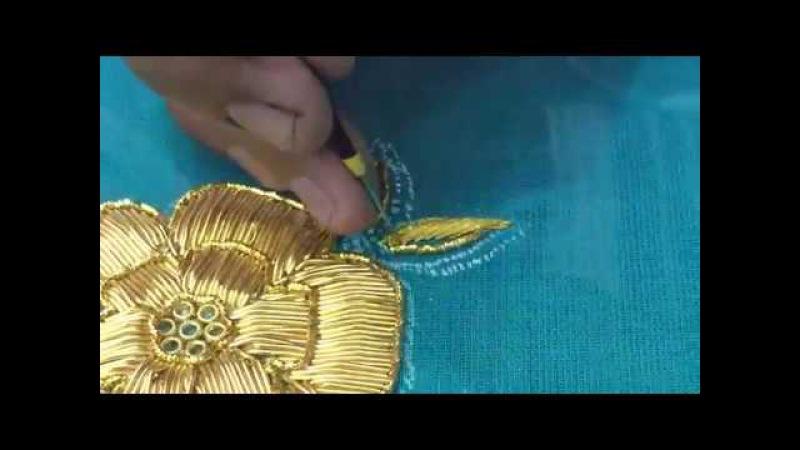 Making of Kundan and Jardosi flower embroidery