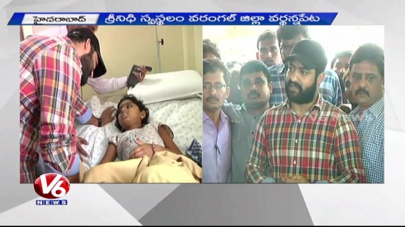 Jr NTR meets his ill fan Srinidhi - Hyderabad 12-05-2015