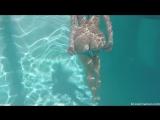 Underwater angel in sheer scrunch butt bikini